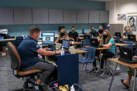 Klein ISD students go back to school with social distancing protocols during the pandemic. The district began their school year with new safety measures and an option for online classes.