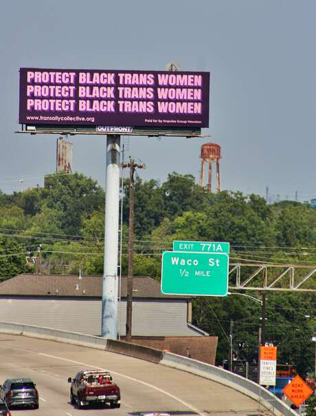 Writer Dee Dee Waters says an easy way to spread awareness is to post a selfie to social media with the Protect Black Trans Women billboard located at Interstate 10 and Gregg Street.
