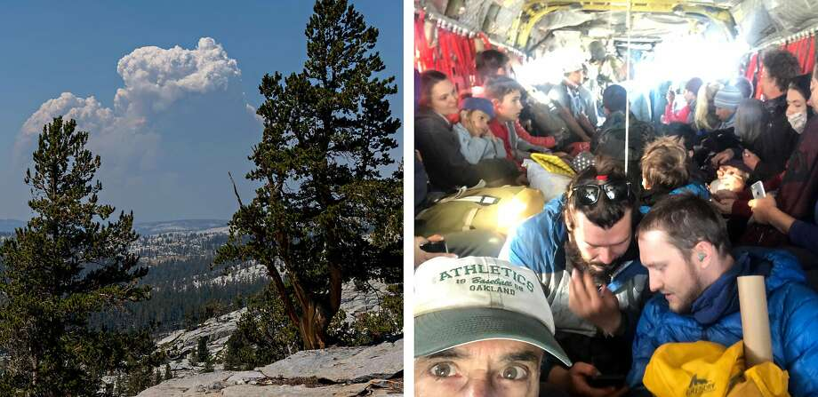 LEFT: First sighting of smoke cloud from ridge line on Red Mountain on Sept. 5, 2020, the third day of Henri Laborde Jr.'s hiking trip.  RIGHT: Henri Laborde Jr. takes a selfie with others packed into A Chinook helicopter after the National Guard rescued them from Edison lake on Sept. 8, 2020. Photo: Robert Shaffer And Henri Laborde Jr.
