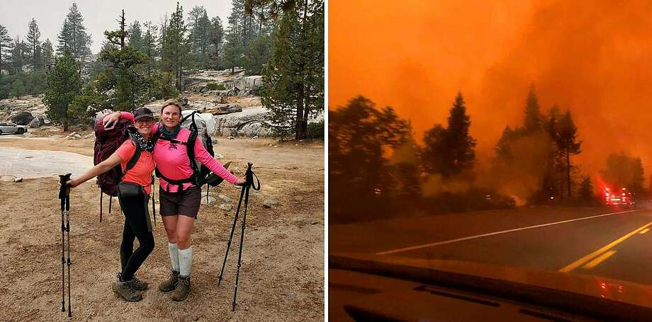 LEFT: Lorinda Pardi, left,  and Jennifer Larson on Bear Creek Trail on Sept. 6, 2020 RIGHT: Lorinda Pardi snapped a photo of the Creek Fire burning alongside Highway 168 as her convoy drove past Shaver Lake on Tuesday. Photo: Photos By Lorinda Pardi