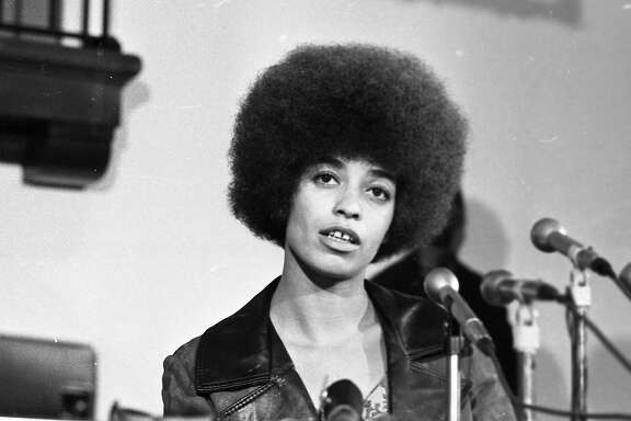 Angela Davis, who was fired as a philosophy professor at UCLA by the University of California Board of Regents because of her Communist affiliations speaks at Mills College, October 23, 1969