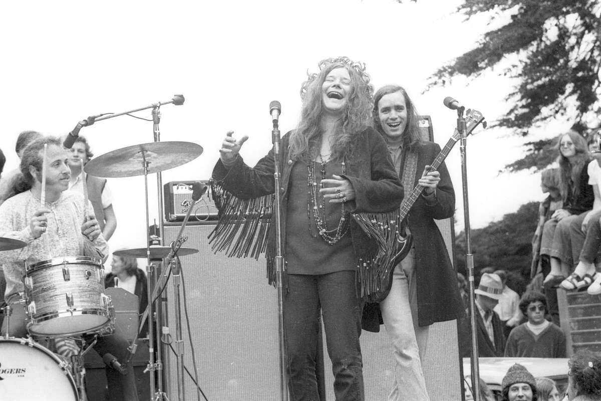 Janis Joplin and Big Brother & The Holding Company perform at the New Year's Wail in Golden Gate Park on January 1, 1967.