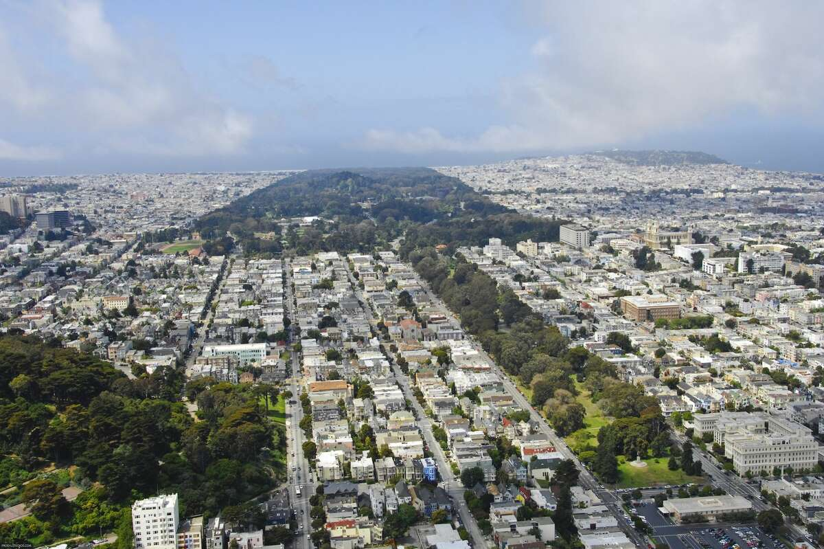 An aerial view of Golden Gate Park and the Panhandle in San Francisco. The Panhandle is near the geographic center of the city.