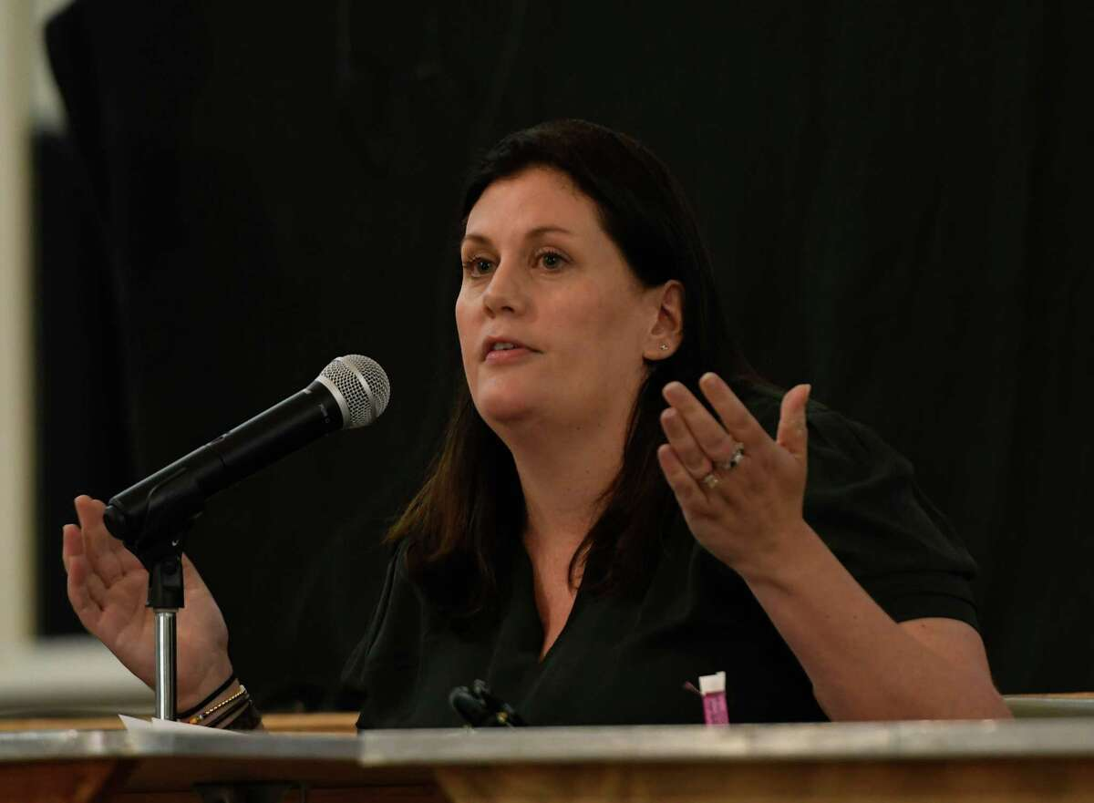 Saratoga Springs Public Safety Commissioner Robin Dalton answers questions during the police task force meeting at the Canfield Casino building on Wednesday, Sept. 9, 2020, in Saratoga Springs. (Jenn March, Special to the Times Union)