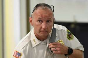 Saratoga Springs police chief Shane Crooks answers questions from a resident during the police task force meeting at the Canfield Casino building on Wednesday, Sept. 9, 2020, in Saratoga Springs. (Jenn March, Special to the Times Union)