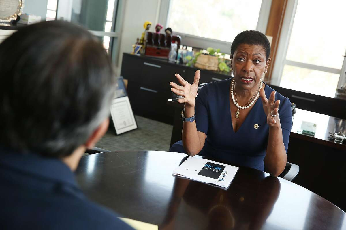 District Attorney Diana Becton (right) talks with Scott Alonso (left), public information officer for the Office of the District Attorney, in her offifce on Friday, August 28, 2020 in Martinez, Calif.