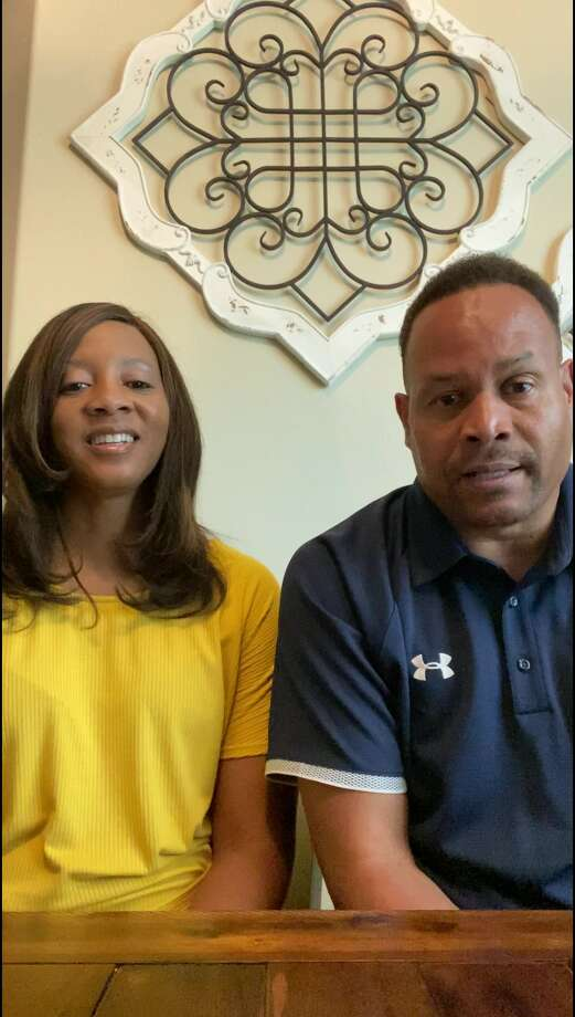 Regina and Hiawatha Culver, parents of J.J., Trey and Jarrett Culver – all locally recognized athletes – gave the keynote address on Friday for the Plainview Area United Way campaign kickoff event. Photo: Courtesy Photo/Plainview Area United Way