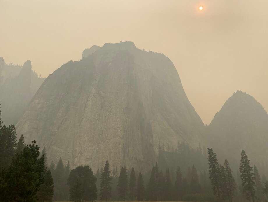 Cathedral Rocks, shrouded in smoke, in Yosemite National Park. Photo: Ashley Harrell