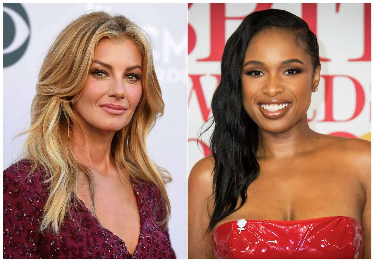This combination photo shows Faith Hill at the 52nd annual Academy of Country Music Awards in Las Vegas on April 2, 2017, left, and Jennifer Hudson at the Brit Awards 2018 in London on Feb. 21, 2018. Hill and Hudson are part of an all-star lineup expected to perform at Aretha Franklina€™s funeral next week. (AP Photo)