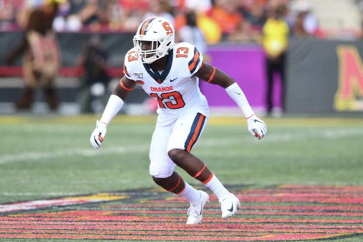COLLEGE PARK, MD - SEPTEMBER 07: Mikel Jones #13 of the Syracuse Orange in position during a college football game against the Maryland Terrapins at Capital One Field at Maryland Stadium on September 7, 2019 in College Park, Maryland. (Photo by Mitchell Layton/Getty Images)