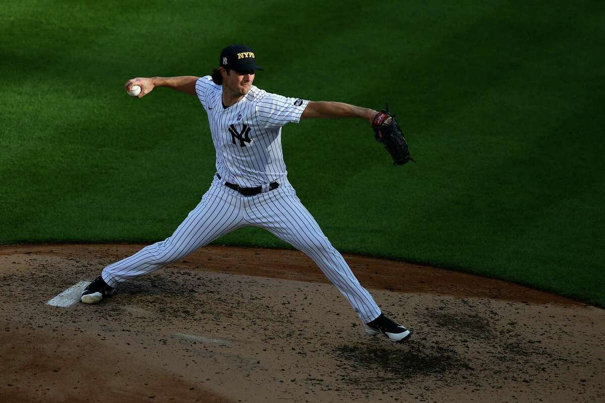 NEW YORK, NEW YORK - SEPTEMBER 11: Gerrit Cole #45 of the New York Yankees pitches against the Baltimore Orioles at Yankee Stadium on September 11, 2020 in New York City. (Photo by Mike Stobe/Getty Images)