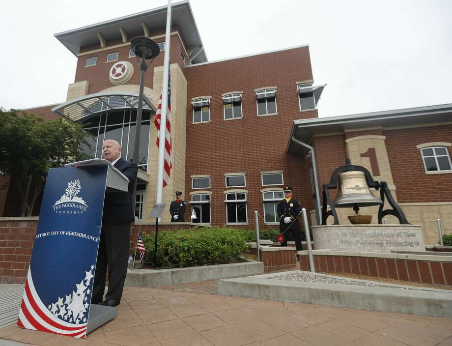 Congressman Kevin Brady, R-The Woodlands, speaks during a ceremony in remembrance of the 9/11 terrorist attacks, Friday, Sept. 11, 2020, in The Woodlands. Law enforcement, emergency personnel, elected officials and community members gathered at The Woodlands Central Fire Station to honor those first responders and citizen who died 19 years ago on September 11th. Photo: Jason Fochtman/Staff Photographer