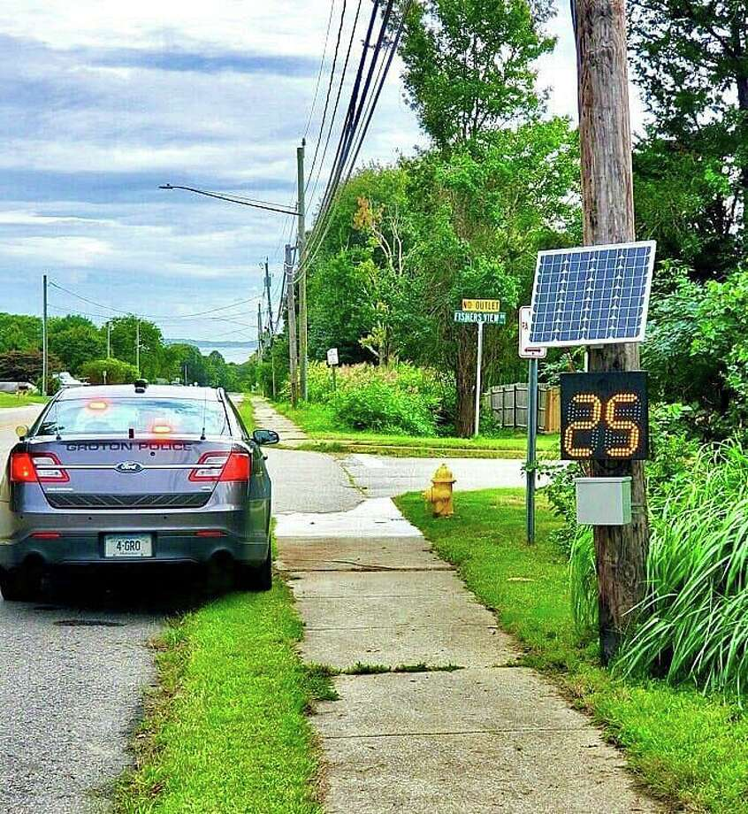 Groton police have deployed a new solar-powered traffic speed sign to help slow drivers. The unit is currently positioned on Groton Long Point Road, but it will be moving to different locations around town based on the results of our speed studies and citizen feedback. Photo: Groton Police Department Photo