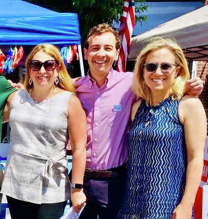 Democrats seeking new terms representing New Canaan in the state legislature will appear at both a meet and greet outside Town Hall and on a virtual barbecue between 3 and 5 p.m. Sunday, Sept. 13. From left are: State Rep. Lucy Dathan (142nd District: Norwalk and New Canaan), state Sen. Will Haskell (26th District: New Canaan, Bethel, Redding, Ridgefield, Weston, Wesport and Wilton) and state Sen. Alex Kasser (36th District: Greenwich, New Canaan and Stamford) who will all be outside Town Hall, 77 Main St. Masks are required. There is no charge to attend. Photo: New Canaan Democrats / Contributed Photo / New Canaan Advertiser Contributed