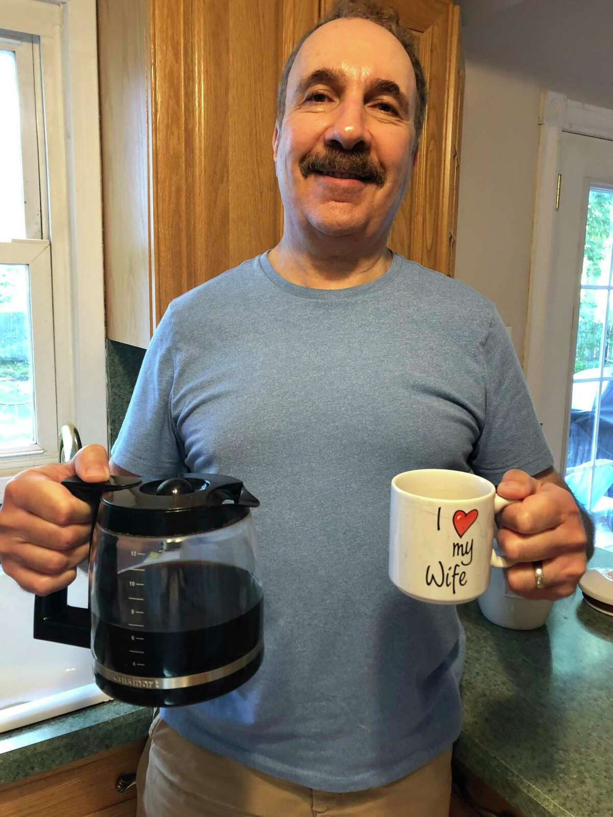 Jerry likes his java, down to the last drop, in the morning.