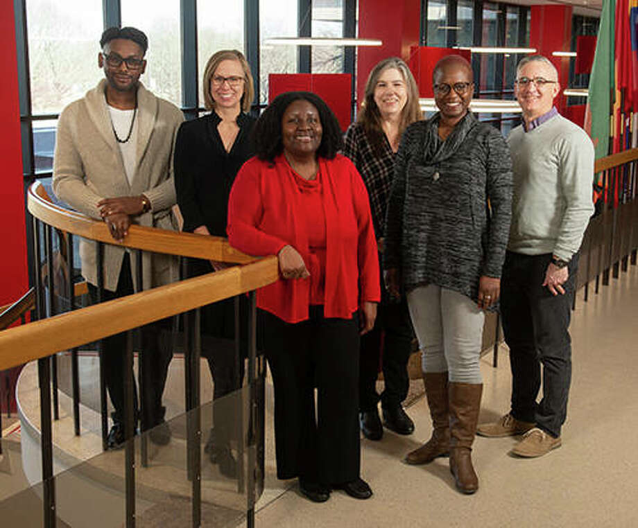 Southern Illinois University Edwardsville Truth, Racial Healing and Transformation core planning team members include, fromt left, Drs. Courtney Boddie, Elizabeth McKenney, Jessica Harris, Connie Frey-Spurlock, Kathryn Bentley and Bryan Jack.