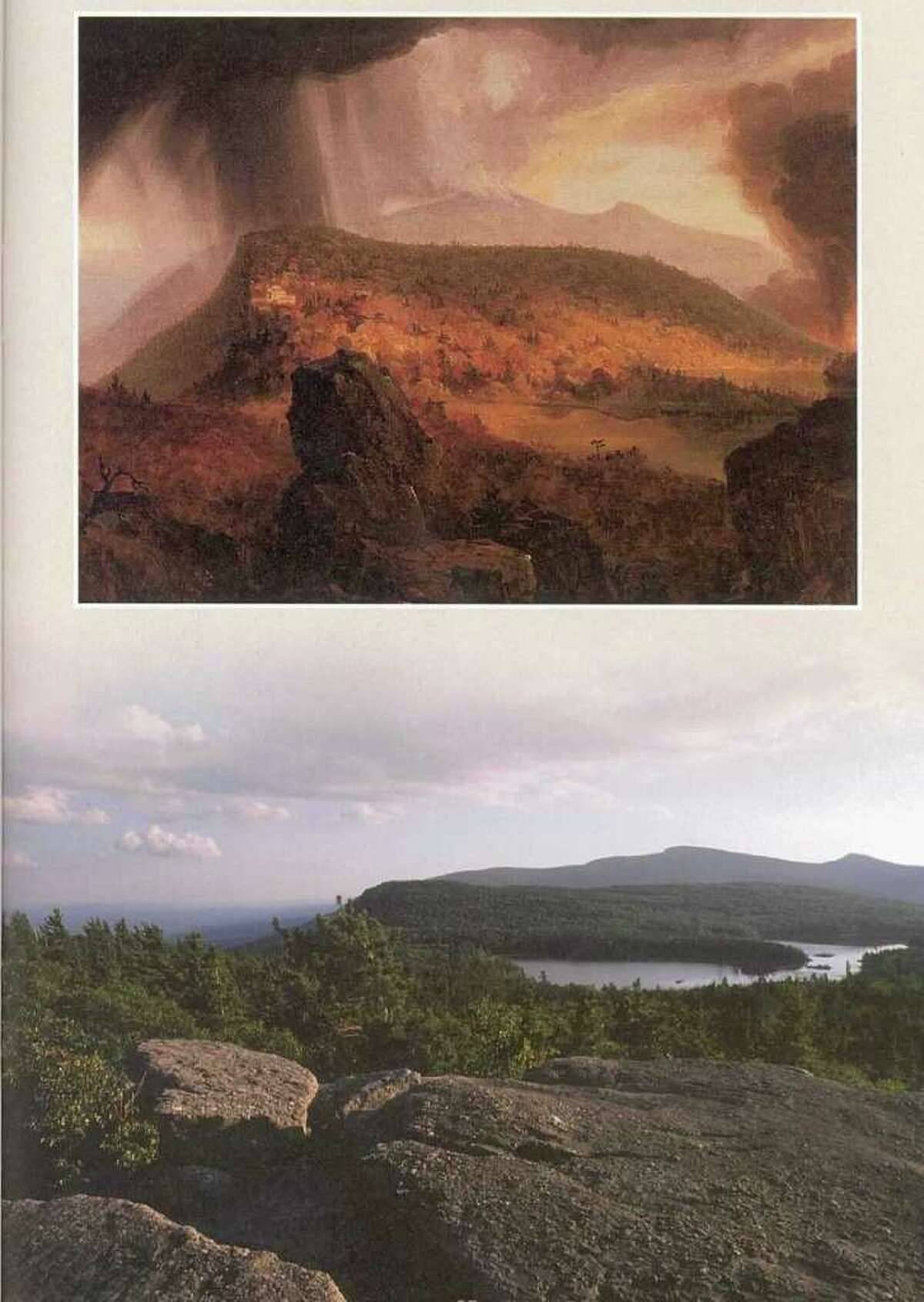 """Thomas Cole, """"The Catskill Mountain House: The Four Elements,"""" 1843-44, oil on canvas, private collections. View from Sunset Rock today"""