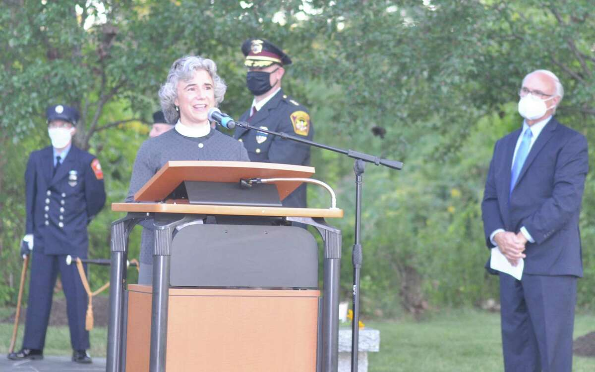 """The Rev. Whitney Altopp of St. Stephen's Church gave the main address at Ridgefield's 9/11 ceremony. """"I believe we are still capable of coming together in time of need,"""" she said."""