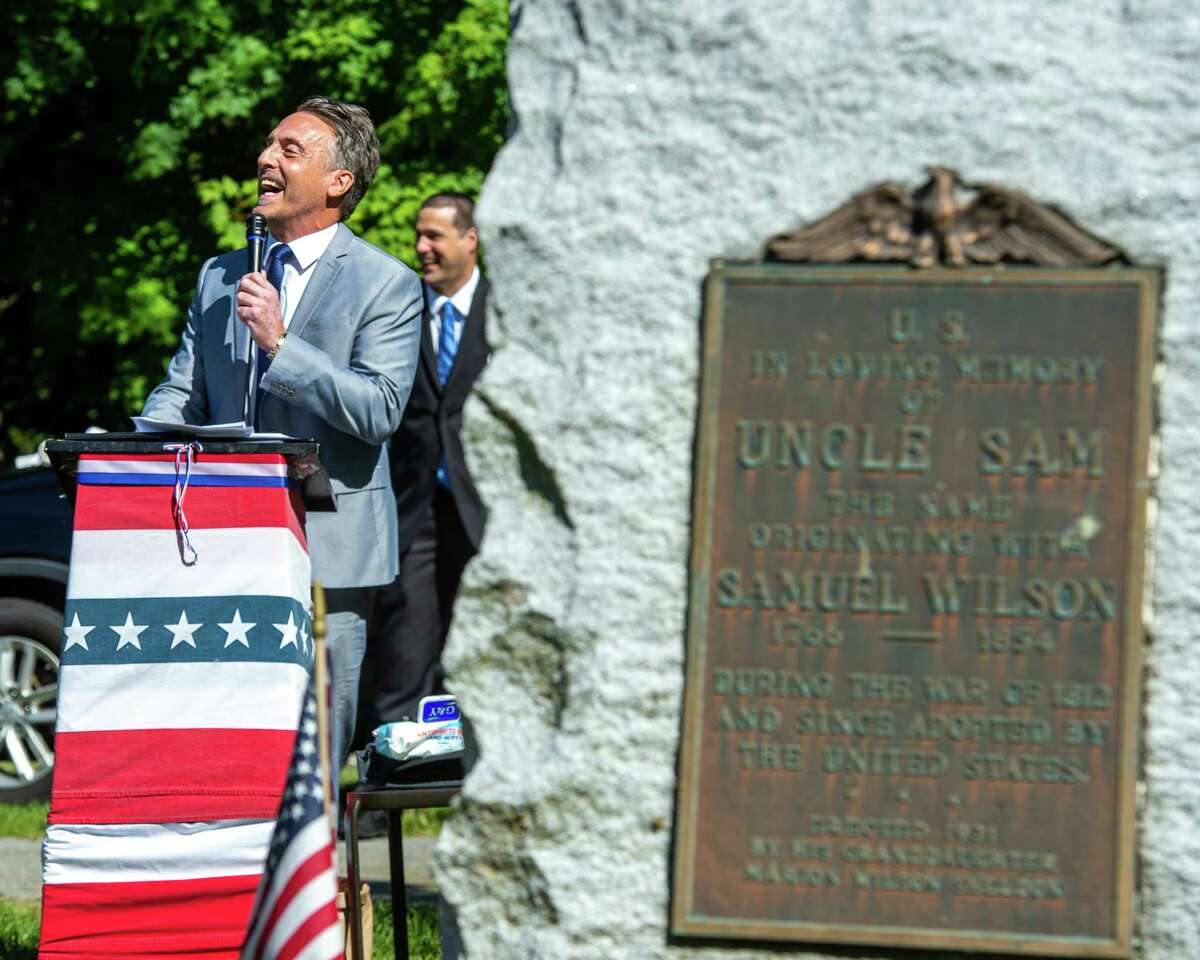 Greg Aidala speaks at the 62th graveside ceremony honoring Uncle Sam Wilson's birthday at Oakwood Cemetery in Troy, NY, on Sept. 12, 2020 (Jim Franco/special to the Times Union.)