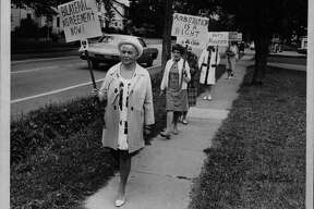 Bethlehem teachers picket during strike at Delmar Elementary School, New York. September 1970 (Bob Paley/Times Union Archive)