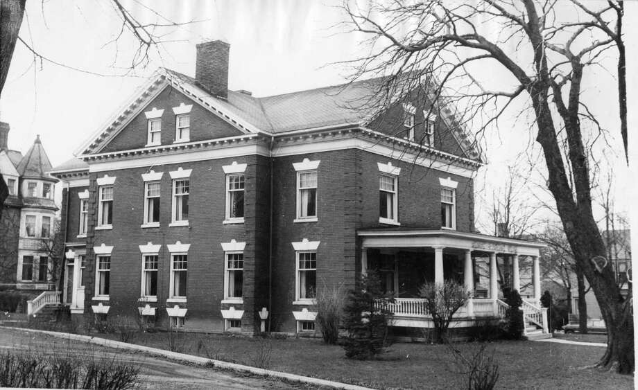 The Adams Funeral Home (the Noud House) located on the corner of Second and Maple streets circa 1950s. (Courtesy photo/Manistee County Historical Museum)