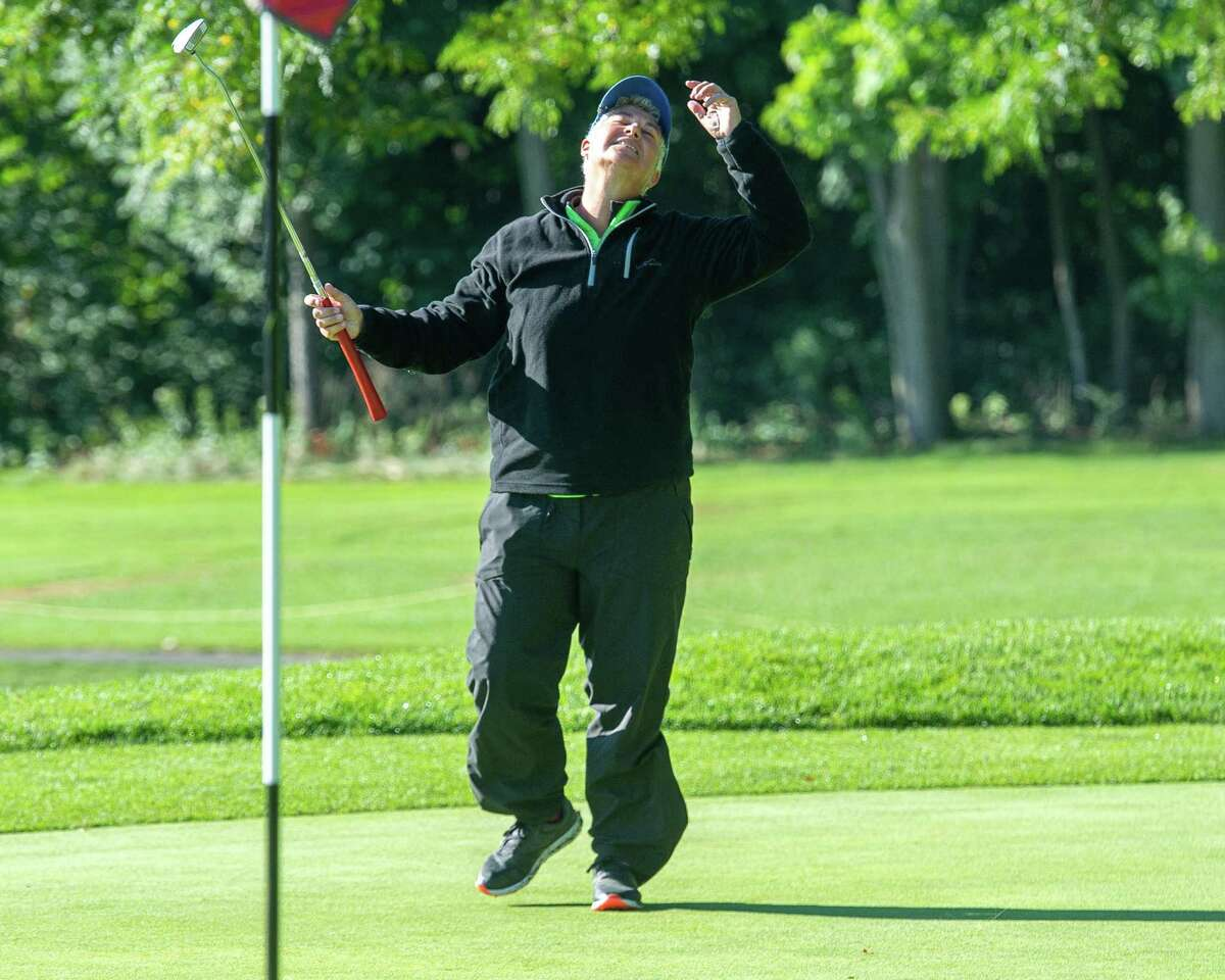 Patricia Mayne reacts to just missing a putt for eagle during the final round of the Schenectady County Womena€™s Classic, a two-day scratch event held at Schenectady Municipal Golf Course, on Saturday, Sept. 12, 2020 (Jim Franco/Special to the Times Union.)