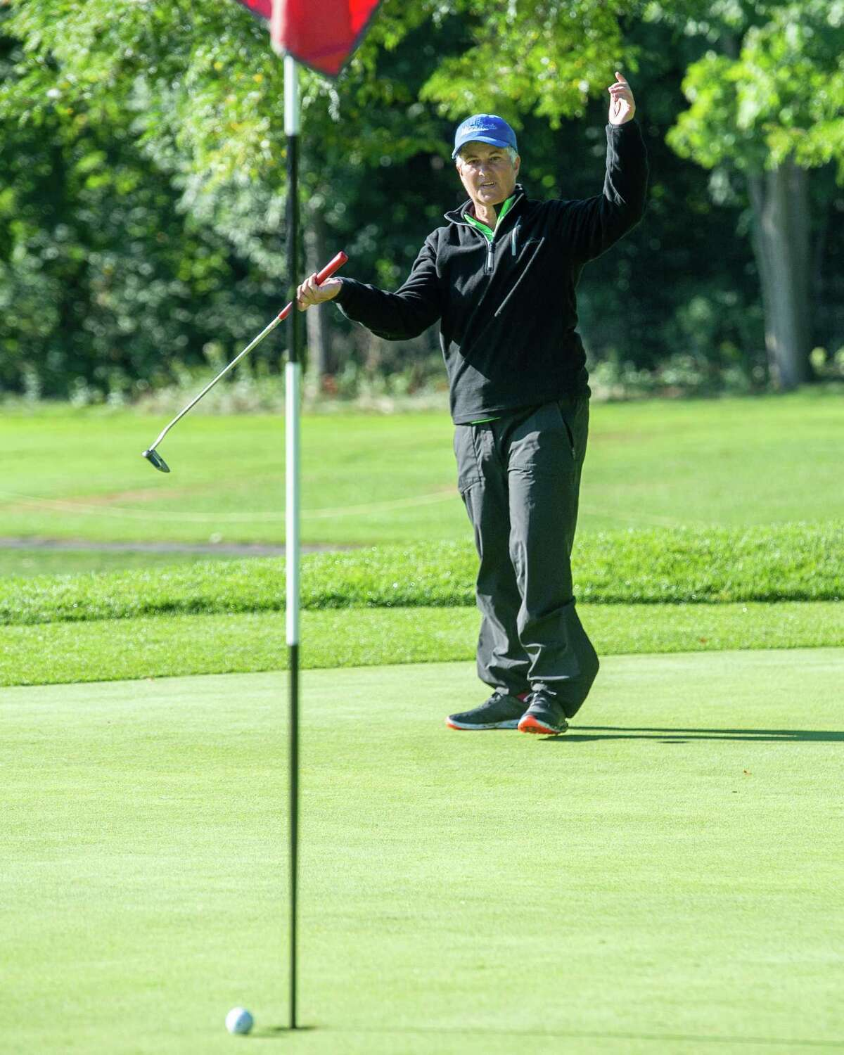 Patricia Mayne thought she had an eagle during the final round of the Schenectady County Womena€™s Classic, a two-day scratch event held at Schenectady Municipal Golf Course, on Saturday, Sept. 12, 2020 (Jim Franco/Special to the Times Union.)
