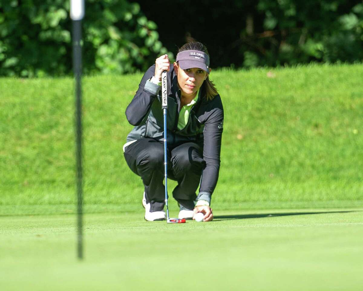 Kelly McKenna lines up a putt during the final round of the Schenectady County Womena€™s Classic, a two-day scratch event held at Schenectady Municipal Golf Course, on Saturday, Sept. 12, 2020 (Jim Franco/Special to the Times Union.)