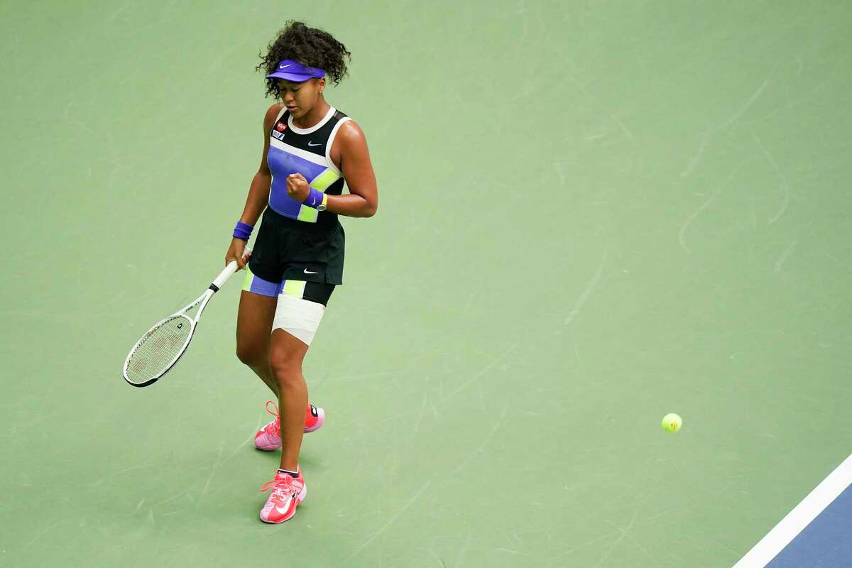 Naomi Osaka, of Japan, reacts during the women's singles final against Victoria Azarenka, of Belarus, during the US Open tennis championships, Saturday, Sept. 12, 2020, in New York.