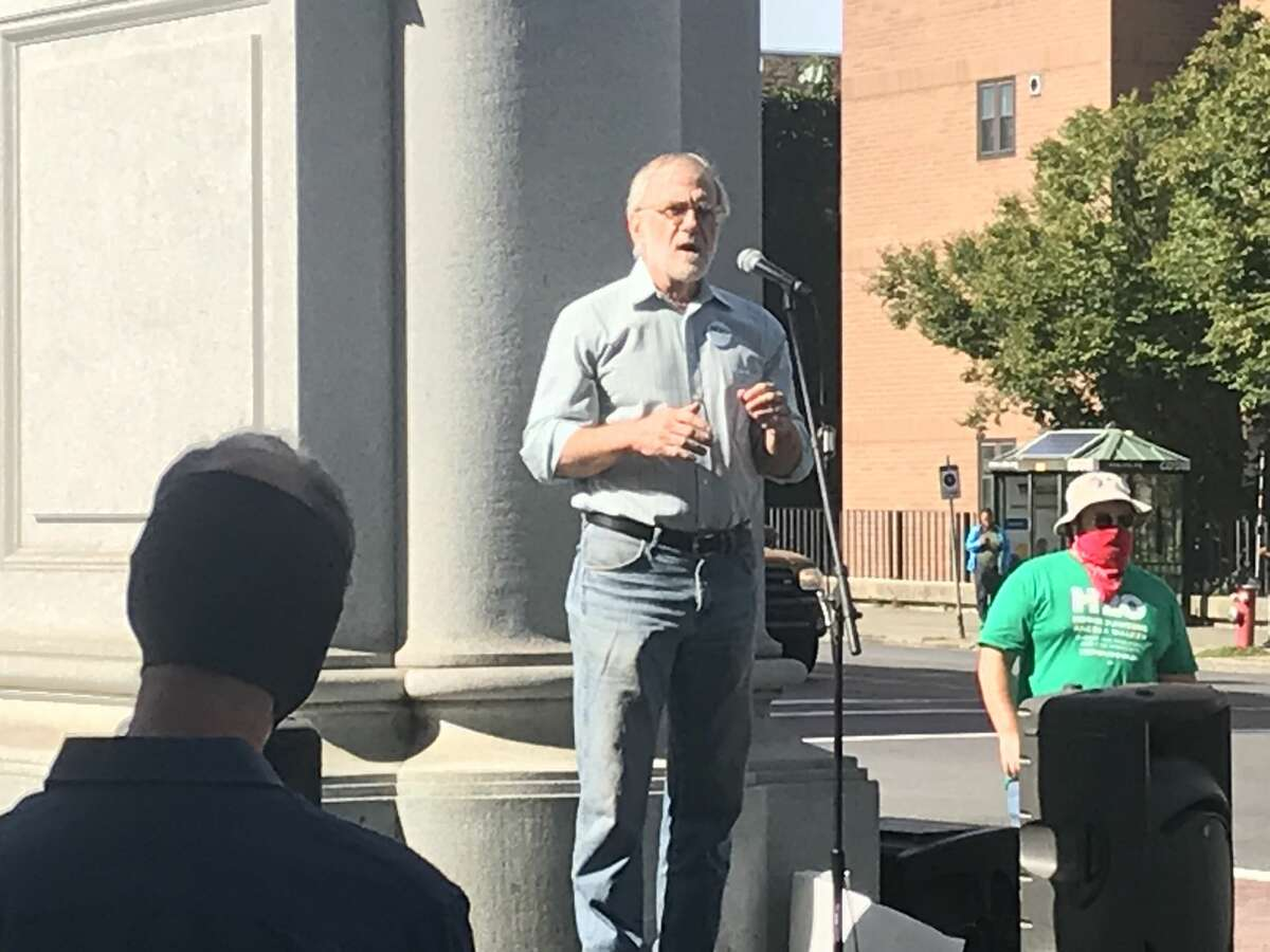 Green party presidential candidate Howard Hawkins addresses supporters in Albany on Saturday, Sept. 12, 2020.