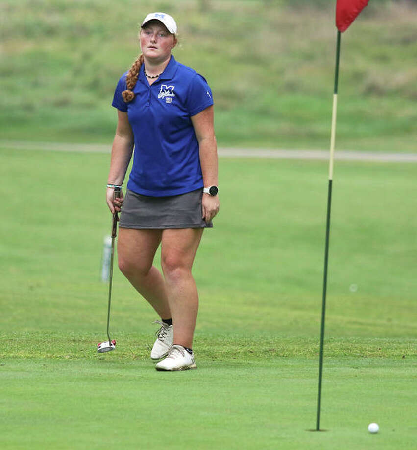 Marquette's Gracie Piar reacts after missing a putt on the 18th hole Saturday in the Alton Classic at Rolling Hills golf course in Godfrey. Piar finished fourth at 76. Photo: Greg Shashack / The Telegraph