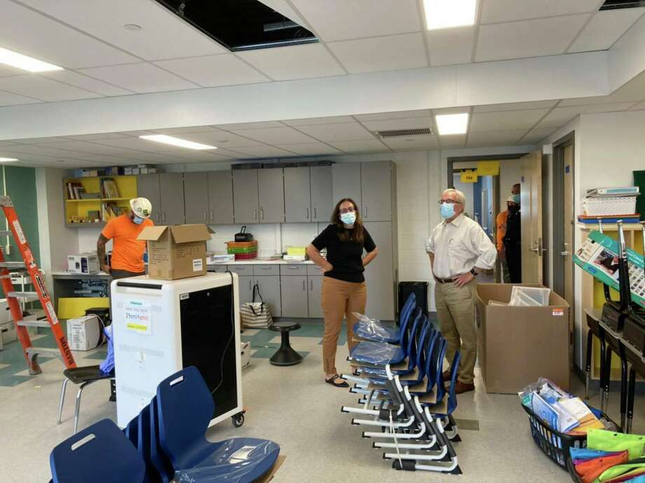The $65.8 million renovations to Rockwell and Johnson elementary schools are mostly complete. Superintendent Christine Carver and First Selectman Matt Knickerbocker recently toured the buildings. Photo: Contributed Photo / The News-Times / The News-Times Contributed