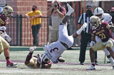 UTSA's Sincere McCormick is upended after a reception in first quarter. UTSA at Texas State on Saturday, September 12, 2020. UTSA 24-7 at halftime.
