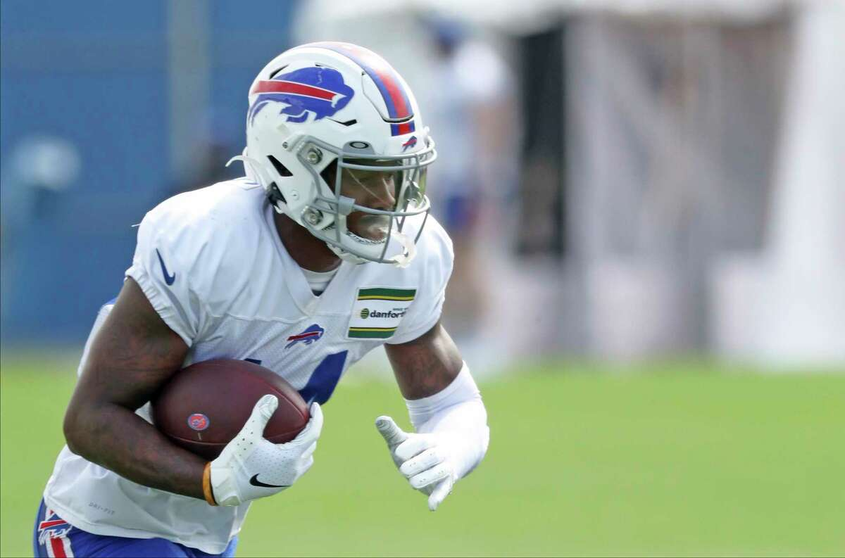 Buffalo Bills wide receiver Stefon Diggs (14) catches a pass during NFL football practice in Orchard Park, N.Y., Thursday, Sept. 3, 2020. (James P. McCoy/The Buffalo News via AP, Pool)