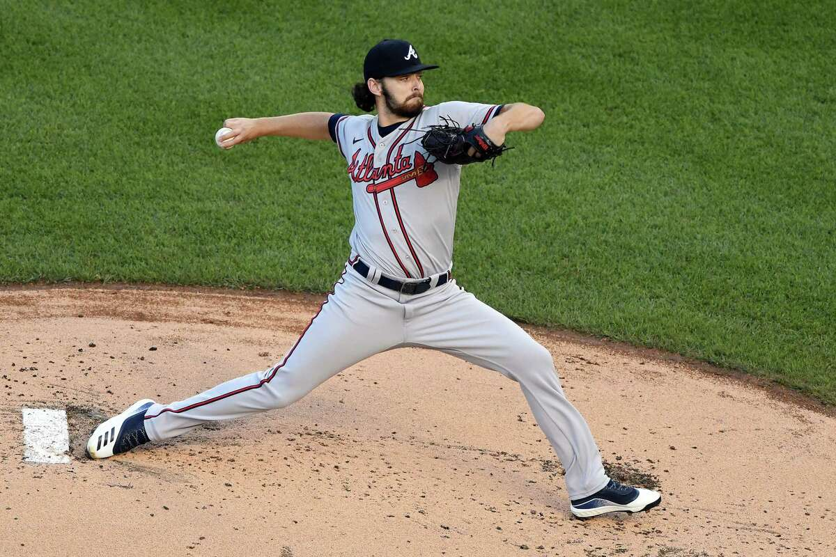 WASHINGTON, DC - SEPTEMBER 12: Ian Anderson #48 of the Atlanta Braves pitches in the first inning during a baseball game against the Washington Nationals at Nationals Park on September 12, 2020 in Washington, DC.