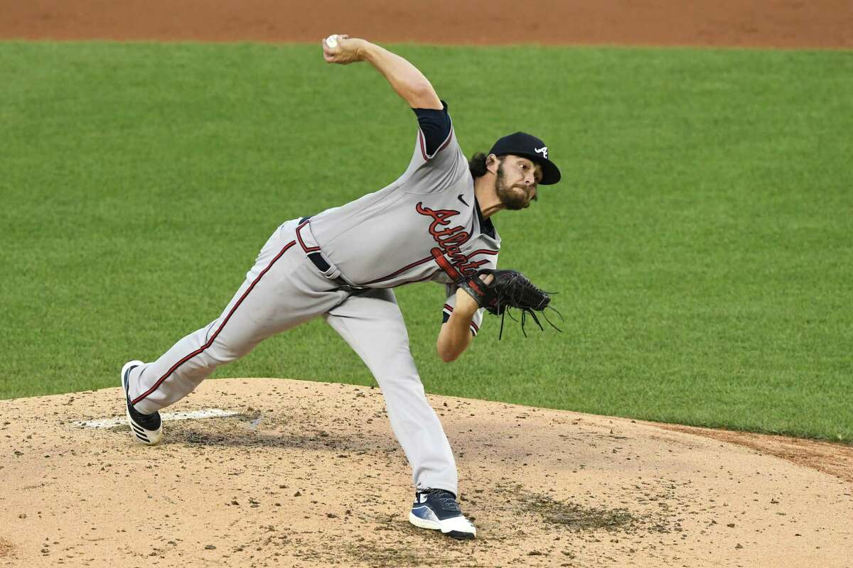 WASHINGTON, DC - SEPTEMBER 12: Ian Anderson #48 of the Atlanta Braves pitches in the third inning during a baseball game against the Washington Nationals at Nationals Park on September 12, 2020 in Washington, DC.