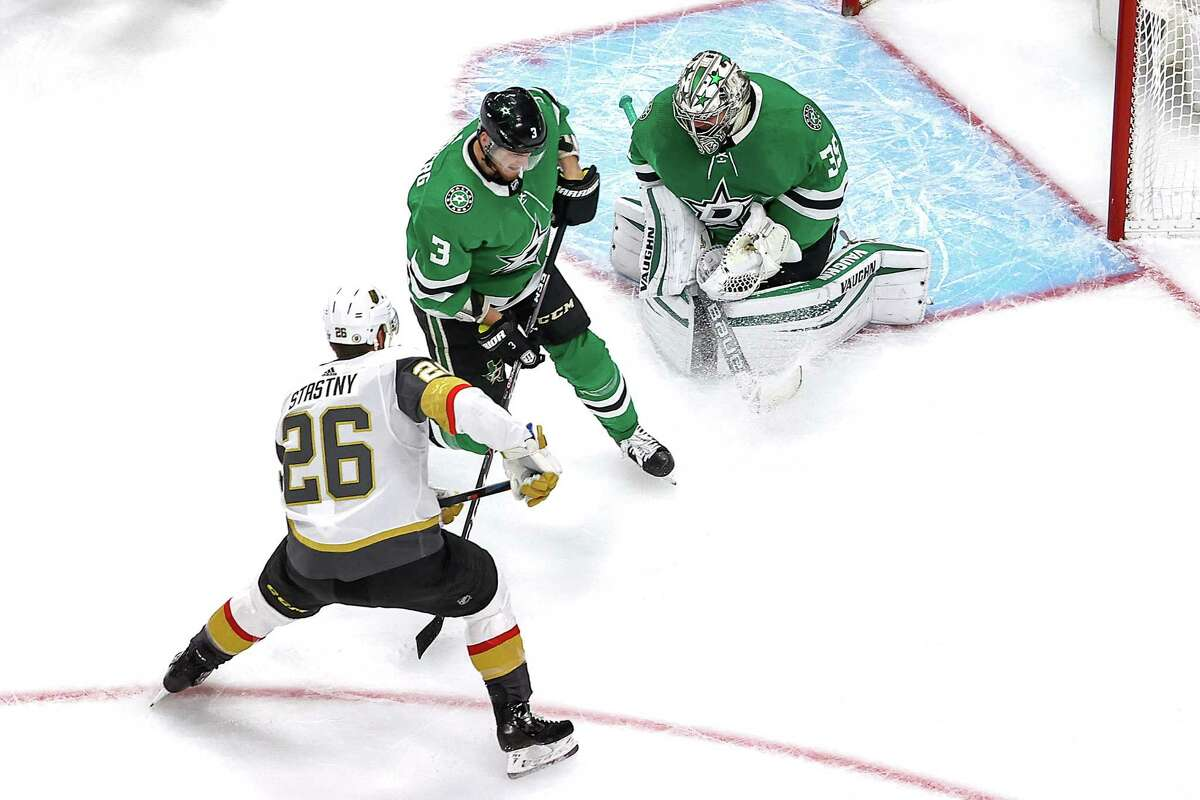 EDMONTON, ALBERTA - SEPTEMBER 12: Anton Khudobin #35 of the Dallas Stars makes the save against Paul Stastny #26 of the Vegas Golden Knights in Game Four of the Western Conference Final during the 2020 NHL Stanley Cup Playoffs at Rogers Place on September 12, 2020 in Edmonton, Alberta, Canada. (Photo by Bruce Bennett/Getty Images)