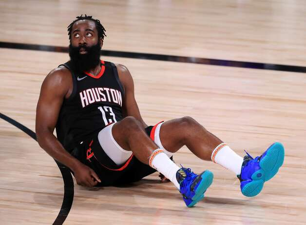LAKE BUENA VISTA, FLORIDA - SEPTEMBER 12: James Harden #13 of the Houston Rockets reacts during the third quarter against the Los Angeles Lakers in Game Five of the Western Conference Second Round during the 2020 NBA Playoffs at AdventHealth Arena at the ESPN Wide World Of Sports Complex on September 12, 2020 in Lake Buena Vista, Florida. NOTE TO USER: User expressly acknowledges and agrees that, by downloading and or using this photograph, User is consenting to the terms and conditions of the Getty Images License Agreement. (Photo by Michael Reaves/Getty Images) Photo: Michael Reaves/Getty Images / 2020 Getty Images