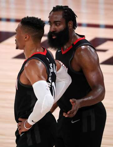 LAKE BUENA VISTA, FLORIDA - SEPTEMBER 12: James Harden #13 of the Houston Rockets and Russell Westbrook #0 of the Houston Rockets during the fourth quarter against the Los Angeles Lakers in Game Five of the Western Conference Second Round during the 2020 NBA Playoffs at AdventHealth Arena at the ESPN Wide World Of Sports Complex on September 12, 2020 in Lake Buena Vista, Florida. NOTE TO USER: User expressly acknowledges and agrees that, by downloading and or using this photograph, User is consenting to the terms and conditions of the Getty Images License Agreement. (Photo by Michael Reaves/Getty Images) Photo: Michael Reaves/Getty Images / 2020 Getty Images