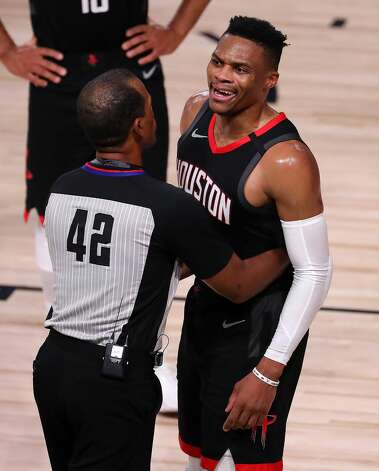 LAKE BUENA VISTA, FLORIDA - SEPTEMBER 12: Russell Westbrook #0 of the Houston Rockets reacts to a fan during the fourth quarter against the Los Angeles Lakers in Game Five of the Western Conference Second Round during the 2020 NBA Playoffs at AdventHealth Arena at the ESPN Wide World Of Sports Complex on September 12, 2020 in Lake Buena Vista, Florida. NOTE TO USER: User expressly acknowledges and agrees that, by downloading and or using this photograph, User is consenting to the terms and conditions of the Getty Images License Agreement. (Photo by Michael Reaves/Getty Images) Photo: Michael Reaves/Getty Images / 2020 Getty Images
