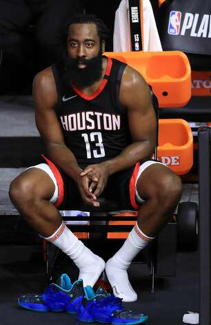 LAKE BUENA VISTA, FLORIDA - SEPTEMBER 12: James Harden #13 of the Houston Rockets during the fourth quarter after leaving the game against the Los Angeles Lakers in Game Five of the Western Conference Second Round during the 2020 NBA Playoffs at AdventHealth Arena at the ESPN Wide World Of Sports Complex on September 12, 2020 in Lake Buena Vista, Florida. NOTE TO USER: User expressly acknowledges and agrees that, by downloading and or using this photograph, User is consenting to the terms and conditions of the Getty Images License Agreement. (Photo by Michael Reaves/Getty Images) Photo: Michael Reaves/Getty Images / 2020 Getty Images