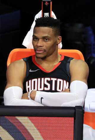 LAKE BUENA VISTA, FLORIDA - SEPTEMBER 12: Russell Westbrook #0 of the Houston Rockets after being asked to leave the game for arguing during the fourth quarter against the Los Angeles Lakers in Game Five of the Western Conference Second Round during the 2020 NBA Playoffs at AdventHealth Arena at the ESPN Wide World Of Sports Complex on September 12, 2020 in Lake Buena Vista, Florida. NOTE TO USER: User expressly acknowledges and agrees that, by downloading and or using this photograph, User is consenting to the terms and conditions of the Getty Images License Agreement. (Photo by Michael Reaves/Getty Images) Photo: Michael Reaves/Getty Images / 2020 Getty Images