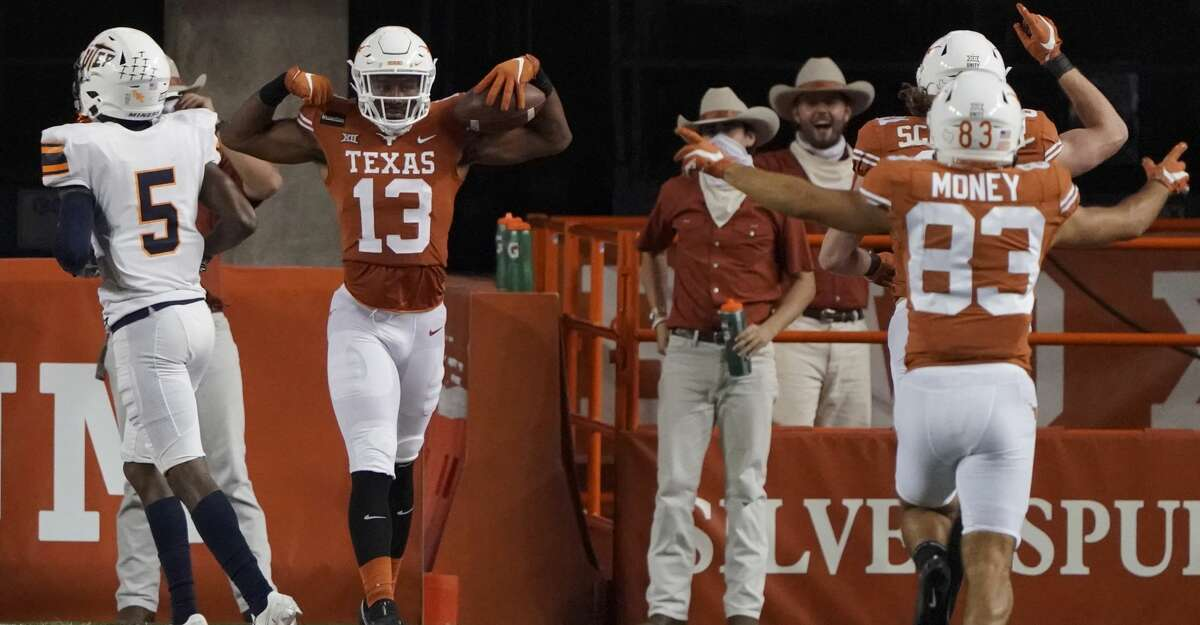 Texas's Brennan Eagles, celebrating a touchdown vs. UTEP, is one of several options Sam Ehlinger has at receiver.