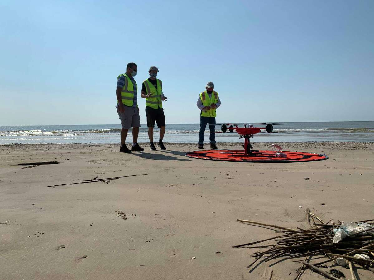 Lamar University Assistant Professor and Geospatial Center Director Reda Amer, Chairman of Earth and Space Sciences Jim Jordan, and other researchers at LU are using infrared and visual imaging from a drone to analyze how vegetation and sand placement were impacted by Hurricane Laura. The research will be used in deciding where restoration is most needed, and help officials prepare for future storms. The second flight of the project happened on Friday, 9/11/20. Photos by Isaac Windes / Beaumont Enterprise
