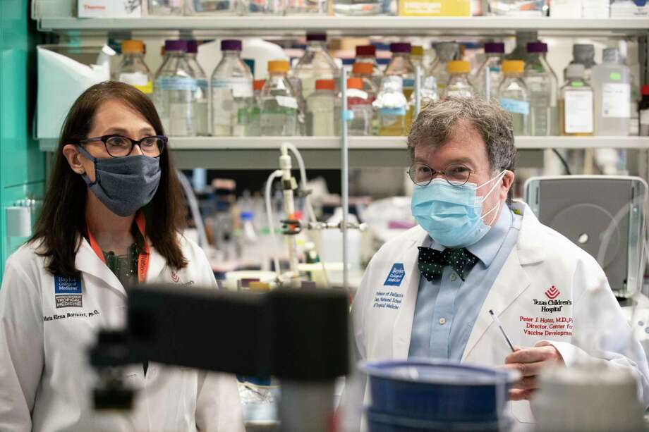 Peter Hotez and Maria Bottazzi, co-directors of Texas Children's Hospitals Center for Vaccine Development, talk about developing vaccine for COVID-19 Thursday, June 18, 2020, in Houston. The lab has been working to develop vaccine for COVID-19 with yeast. Photo: Yi-Chin Lee, Houston Chronicle / Staff Photographer / © 2020 Houston Chronicle