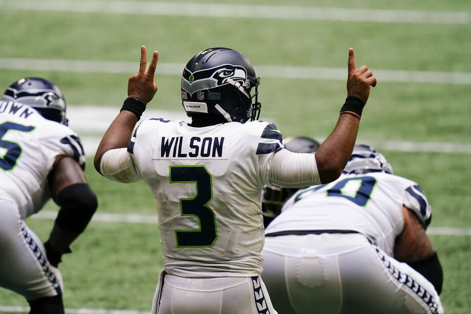 Seattle Seahawks quarterback Russell Wilson (3) calls a play against the Atlanta Falcons during the second half of an NFL football game, Sunday, Sept. 13, 2020, in Atlanta. (AP Photo/Brynn Anderson) Photo: Brynn Anderson/AP / Copyright 2020 The Associated Press. All rights reserved