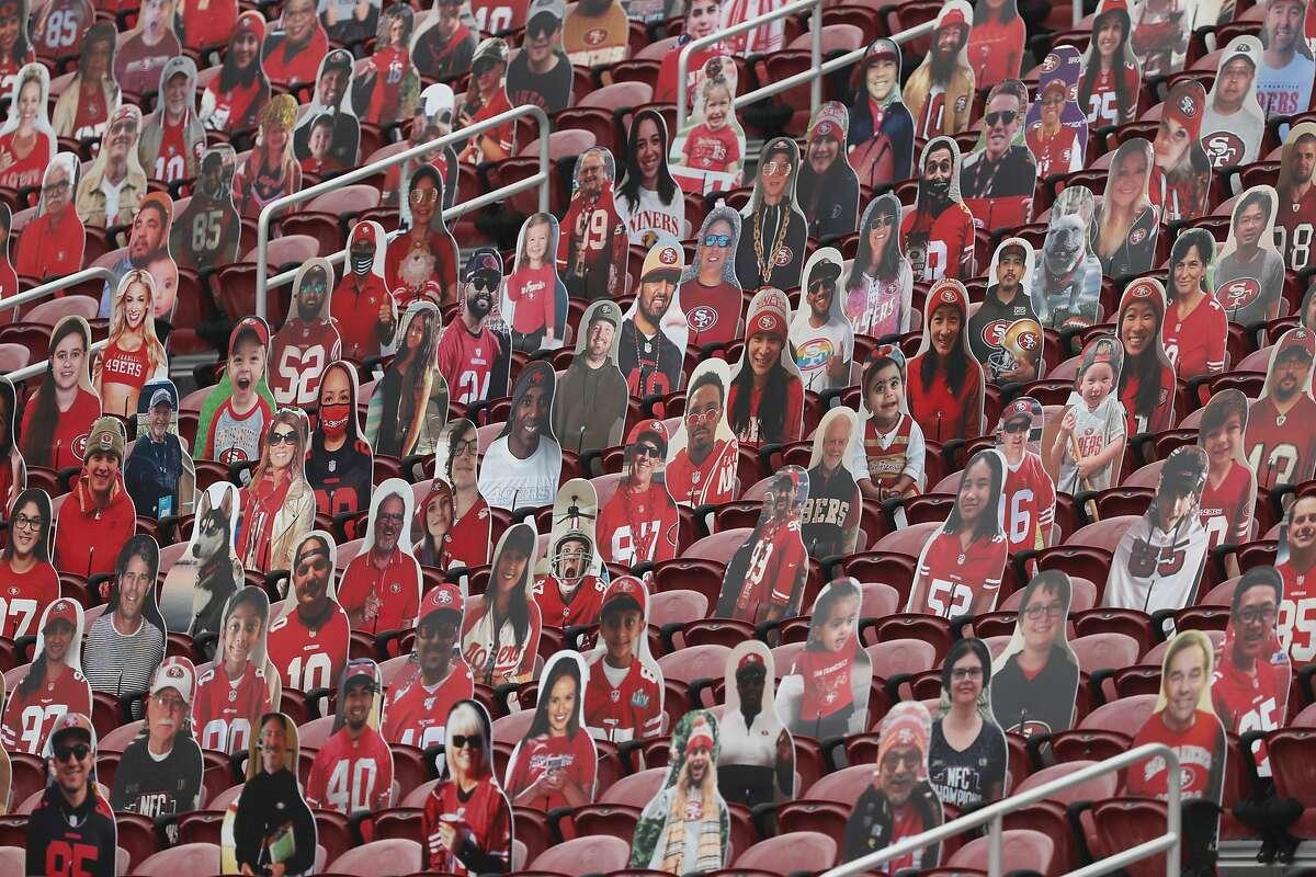 Cutouts sit in seats at Levi's Stadium before an NFL football game between the San Francisco 49ers and the Arizona Cardinals in Santa Clara, Calif., Sunday, Sept. 13, 2020. (AP Photo/Josie Lepe)