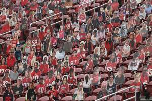 Cutouts sit in seats at Levi's Stadium before an NFL football game between the San Francisco 49ers and the Arizona Cardinals in Santa Clara, Calif., Sunday, Sept. 13, 2020. (AP Photo/Josie Lepe)