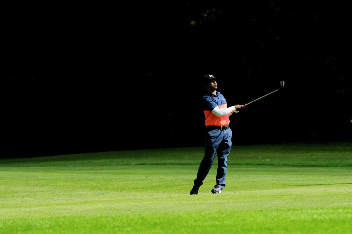 Lance Hope hits towards the 14th green during the final round of the Schenectady Classic golf tournament at the Schenectady Municipal Golf Course on Sunday, Sept. 13, 2020, in Schenectady, N.Y. (Paul Buckowski/Times Union)