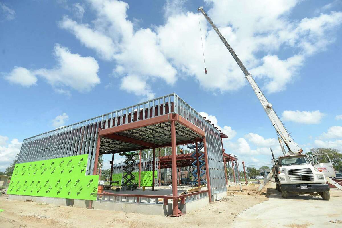 Work continues on construction of Lamar University's Welcome Center on Jim Gilligan Way. The project is expected to be completed in January. Photo taken Friday, September 4, 2020 Kim Brent/The Enterprise